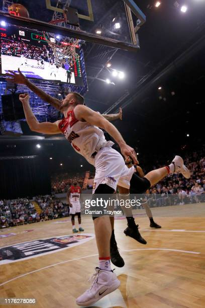 Andrew Ogilvy of the Hawks drives to the basket during the NBL Blitz pre-season match between Melbourne United and the Illawarra Hawks at Derwent...