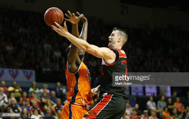 Andrew Ogilvy of the Hawks drives to the basket during the round 18 NBL match between the Illawarra Hawks and the Cairns Taipans at the Wollongong...