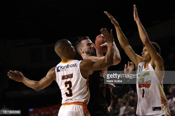 Andrew Ogilvy of the Hawks in action during the round 13 NBL match between the Illawarra Hawks and the Cairns Taipans at WIN Entertainment Centre, on...