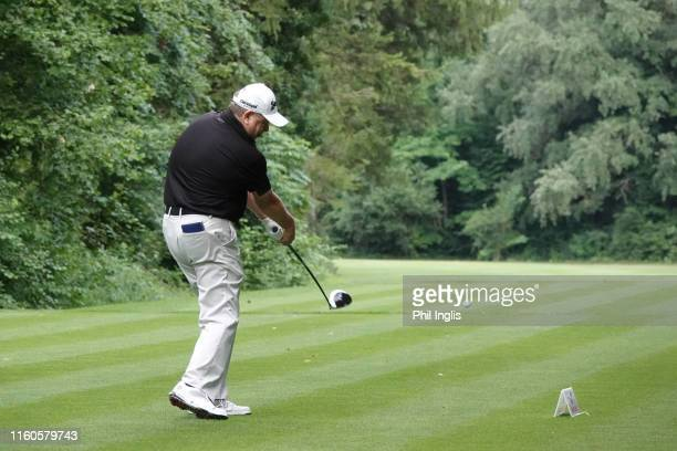 Andrew Oldcorn of Scotland in action during the final round of the Swiss Seniors Open played at Golf Club Bad Ragaz on July 07, 2019 in Bad Ragaz,...