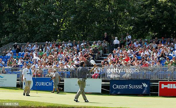 Andrew Oldcorn of Scotland in action during the final round of the Bad Ragaz PGA Seniors Open played at Golf Club Bad Ragaz on July 3, 2011 in Bad...
