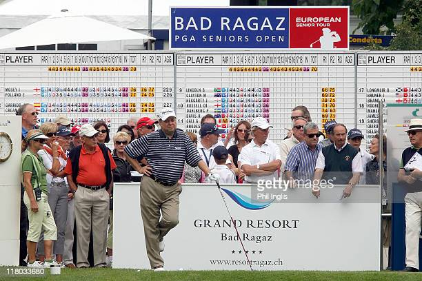 Andrew Oldcorn of Scotland waits to play on the 1st tee during the final round of the Bad Ragaz PGA Seniors Open played at Golf Club Bad Ragaz on...
