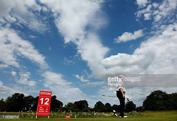 Andrew Oldcorn of Scotland walks from the 12th tee during the second round of the Handa Senior Masters presented by the Stapleford Forum played at...