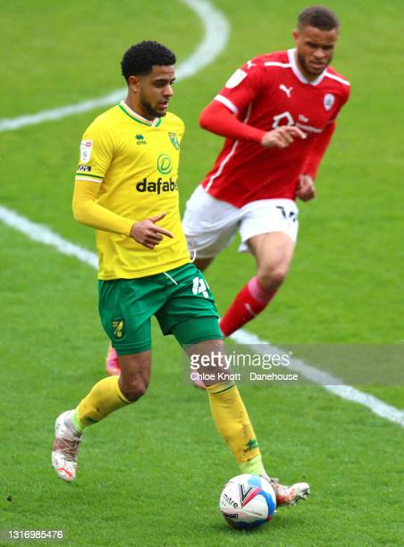 Andrew Omobamidele of Norwich City controls the ball during the Sky Bet Championship match between Barnsley and Norwich City at Oakwell Stadium on...