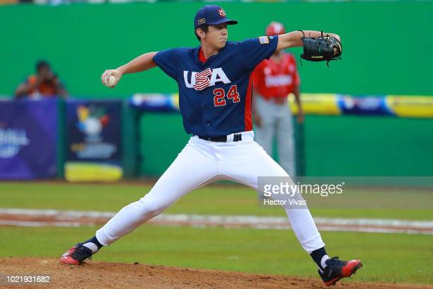 Reginald Preciado of Panama tagged out Ryan Clifford of United States into second base in the 2nd inning during the final match of WSBC U15 World Cup...
