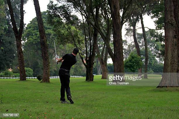 Andrew Par hits out of the rough to the first green during the second round of the Pacific Rubiales Bogota Open Presented by Samsung at Country Club...