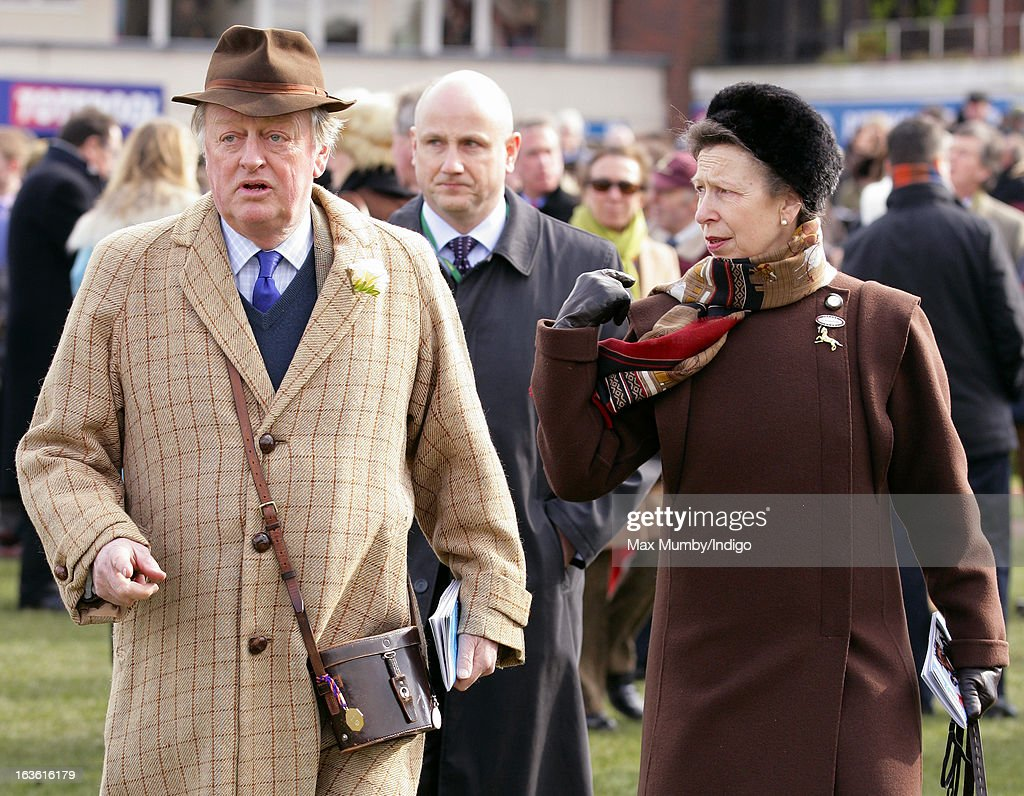 Andrew Parker Bowles and Princess Anne, The Princess Royal attend Day 2 of The Cheltenham Festival at Cheltenham Racecourse on March 13, 2013 in London, England.