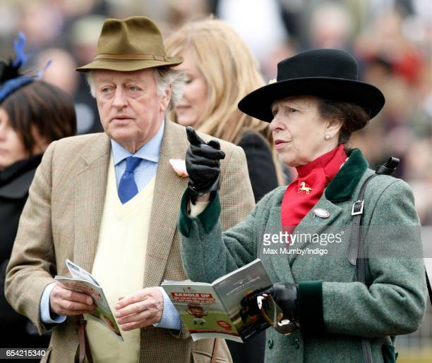Andrew Parker Bowles and Princess Anne The Princess Royal attend day 3 of the Cheltenham Festival at Cheltenham Racecourse on March 16 2017 in...