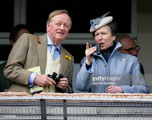 Andrew Parker Bowles and Princess Anne The Princess Royal watch the racing from the balcony of the Royal box as they attend day 4 'Gold Cup Day' of...