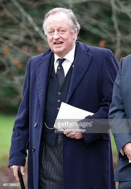 Andrew Parker Bowles attends the funeral of Arthur Valerian Wellesley The 8th Duke of Wellington at Stratfield Saye Church on January 8 2015 in...