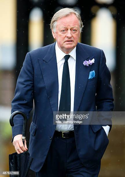 Andrew Parker Bowles attends the funeral of Mark Shand at Holy Trinity Church Stourpaine on May 1 2014 near Blandford Forum in Dorset England...