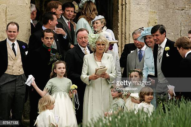 Andrew Parker Bowles Camilla Duchess of Cornwall and Charles Prince of Wales leave Laura Parker Bowles wedding to Harry Lopes at St Cyriac's Church...