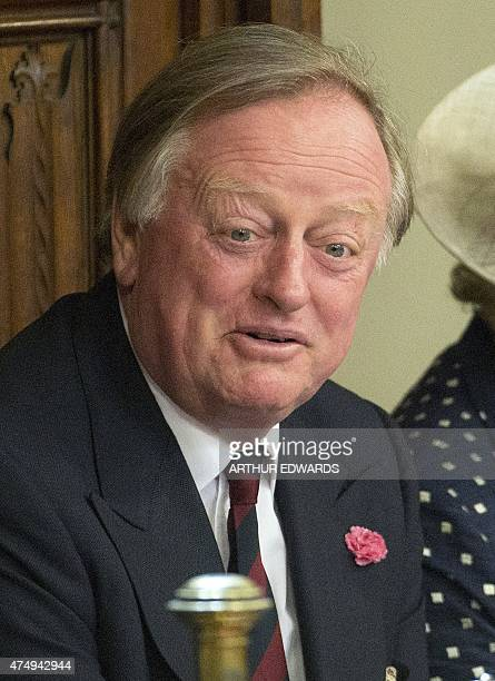 Andrew Parker Bowles former husband of Camilla Parker Bowles now Britain's Camilla Duchess of Cornwall attends the State Opening of Parliament at the...