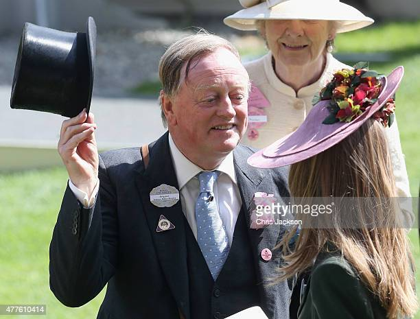 Andrew Parker Bowles smiles in the Parade Ring as she attends Ladies Day on day 3 of Royal Ascot at Ascot Racecourse on June 18 2015 in Ascot England