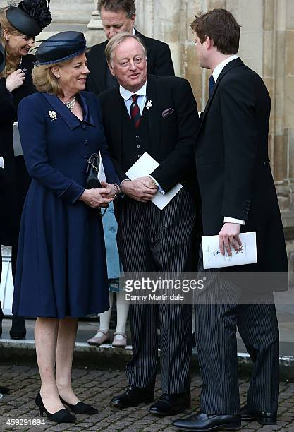 Andrew Parker Bowles talks with friends at a service of thanksgiving for Lady Soames at Westminster Abbey on November 20 2014 in London England