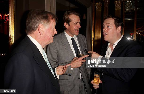Andrew Parker Bowles Tom Parker Bowles and Ben Elliot attend the launch of Geordie Greig's new book Breakfast With Lucian on October 3 2013 in London...