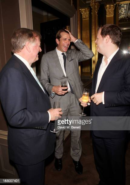 Andrew Parker Bowles Tom Parker Bowles and Ben Elliot attend the launch of Geordie Greig's new book 'Breakfast With Lucian' on October 3 2013 in...