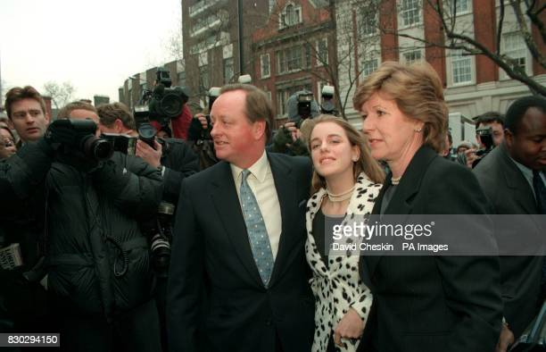 Andrew ParkerBowles arrives with his daughter Laura and bride tobe Rosemary Pitman at the Chelsea Registry office in London for their wedding ceremony