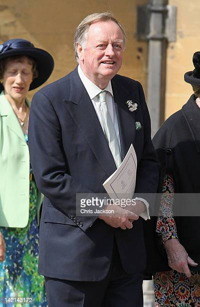 Andrew ParkerBowles leaves a thanksgiving service for the Queen Mother and Princess Margaret at St George's Chapel on March 30 2012 in Windsor England