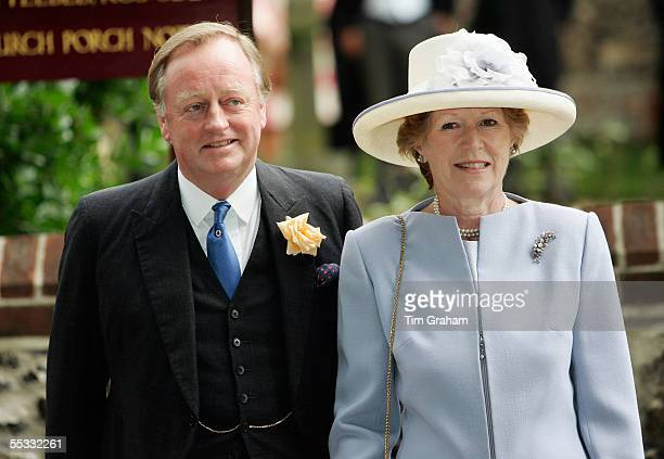 Andrew ParkerBowles the father of the groom and his wife Rosemary at the wedding of Tom ParkerBowles to Sara Buys The marriage ceremony was held at...