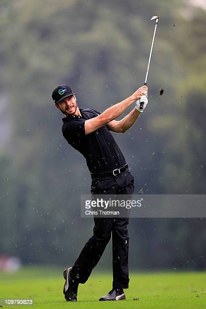 Andrew Parr hits his approach shot to the second green during the second round of the Pacific Rubiales Bogota Open Presented by Samsung at Country...