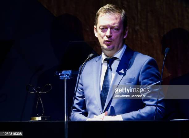 Andrew Parsons President of the International Paralympic Committee speakes during the Brazil Paralympics Awards Ceremony 2018 at Paralympic Tranining...