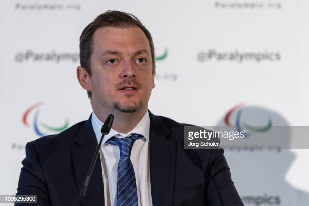 Andrew Parsons, President of the IPC during a press conference to announce that the Russian Paralympic Committee's suspension has been conditionally...