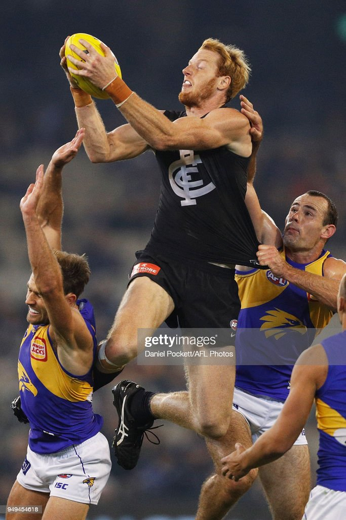 Andrew Phillips of the Blues marks the ball during the round five AFL match between the Carlton Blues and the West Coast Eagles at Melbourne Cricket Ground on April 21, 2018 in Melbourne, Australia.