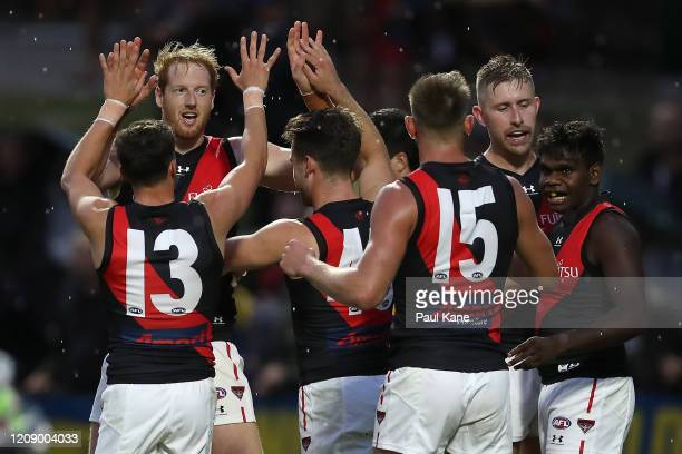 Andrew Phillips of the Bombers celebrates a goal during the 2020 Marsh Community Cup AFL match between the West Coast Eagles and the Essendon Bombers...