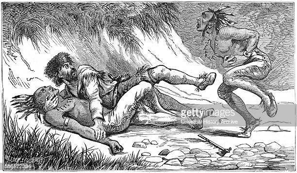 Andrew PoeÕs Famous Combat with Wyandot Chief BigfootÓ Book Illustration from ÒIndian Horrors or Massacres of the Red MenÓ by Henry Davenport...