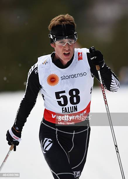 Andrew Pohl of New Zealand competes during the Men's 30km CrossCountry Skiathlon during the FIS Nordic World Ski Championships at the Lugnet venue on...
