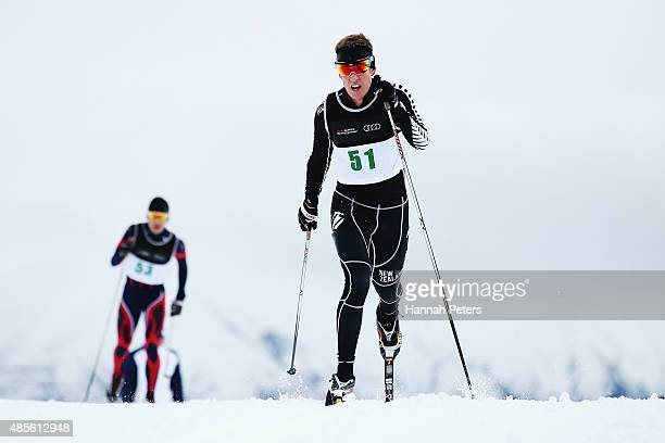 Andrew Pohl of New Zealand competes in the FIS Cross-Country Skiing ANC Mass Start Classic Mens race during the Winter Games NZ at Snow Farm on...
