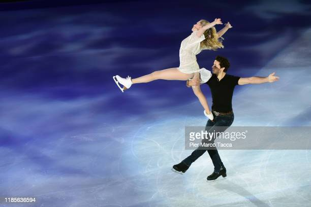 Andrew Poje and Kaitlyn Weaver of Canada perform during the Golden Skate Awards on November 30, 2019 in Milan, Italy.
