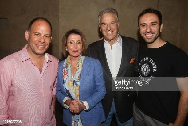 Andrew Polk Nancy Pelosi Paul Pelosi and Pomme Koch pose backstage at the hit musical The Band's Visit on Broadway at The Barrymore Theatre on August...