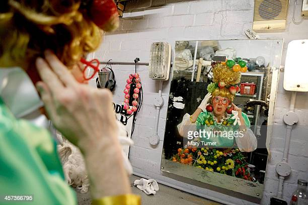 Andrew Pollard aged 46 prepares to go on stage as Fruity Fifi in Puss in Boots at the Greenwich Theatre on December 1 2013 in London England Andrew...