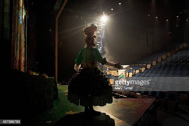 Andrew Pollard aged 46 rehearses on stage as Fruity Fifi in Puss in Boots at the Greenwich Theatre on December 1 2013 in London England Andrew is in...