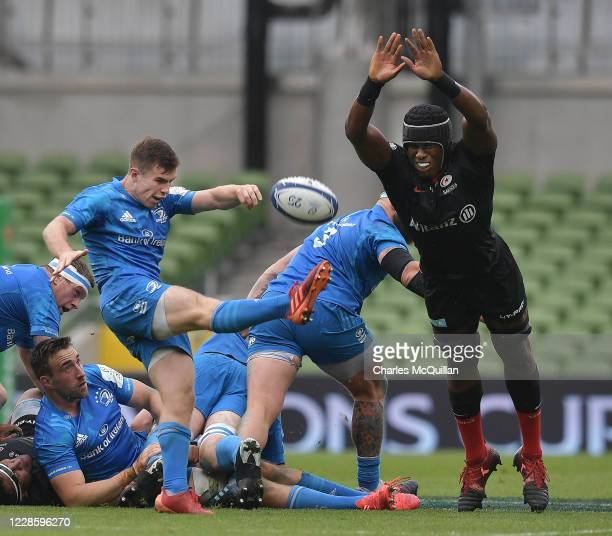 Andrew Porter of Leinster and Maro Itoje of Saracens during the Heineken Champions Cup Quarter Final match between Leinster and Saracens at Aviva...