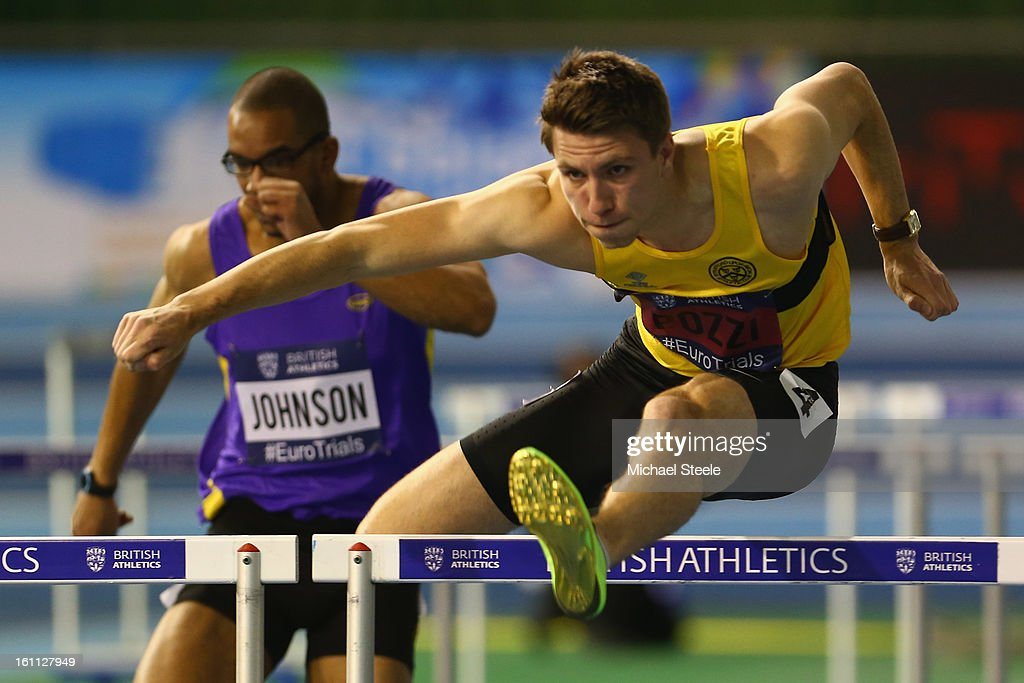 Andrew Pozzi competes in the men's 60m hurdles semi-final on day one of the British Athletics European Trials & UK Championship at the English Institute of Sport on February 9, 2013 in Sheffield, England.