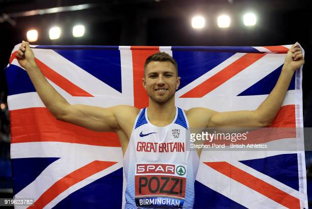 Andrew Pozzi of Great Britain celebrates winning the mens 60m hurdles final during day one of the SPAR British Athletics Indoor Championships at...