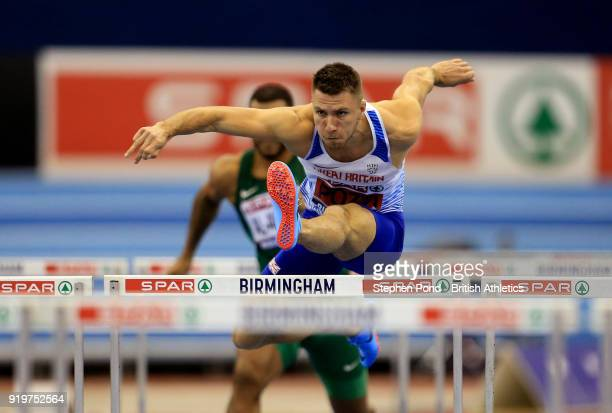 Andrew Pozzi of Great Britain competes in the mens 60m hurdles during day one of the SPAR British Athletics Indoor Championships at Arena Birmingham...