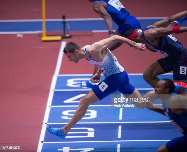 Andrew Pozzi of Great Britain during the Men's 60m Final on Day 4 of the IAAF World Indoor Championships at Arena Birmingham on March 4 2018 in...