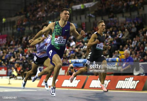 Andrew Pozzi of Great Britain wins the Men's 60m Hurdles Final during the Muller Indoor Grand Prix World Athletics Tour event at Emirates Arena on...