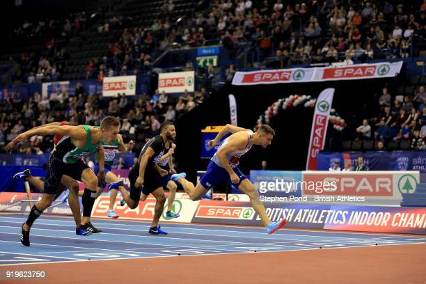 Andrew Pozzi of Great Britain wins the mens 60m hurdles final during day one of the SPAR British Athletics Indoor Championships at Arena Birmingham...