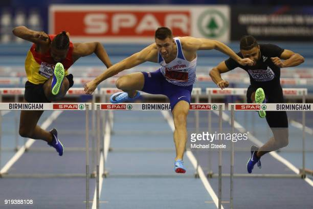 Andrew Pozzi of StratfordUponAvon clears the last hurdle to win the final of the 60m hurdles during day one of the SPAR British Athletics Indoor...