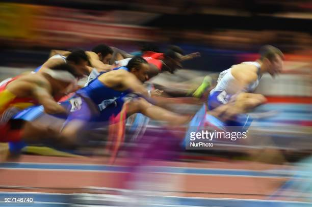 Andrew Pozzi of Great Britain and Aries Merritt of United States at 60 meters hurdles at World indoor Athletics Championship 2018 Birmingham England...