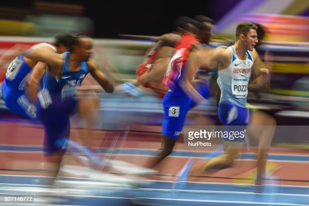Andrew Pozzi of Great Britain at 60 meters hurdles at World indoor Athletics Championship 2018, Birmingham, England on March 4, 2018.