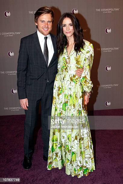 Andrew Pruett and actress Abigail Spencer arrive at The Cosmopolitan Grand Opening and New Year's Eve Celebration with JayZ and Coldplay at Marquee...