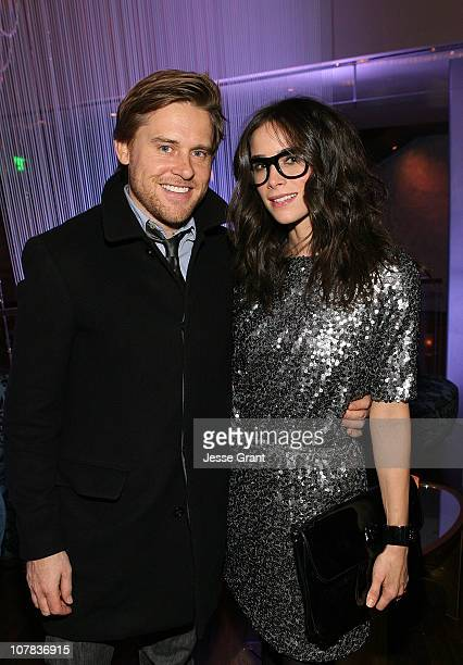 Andrew Pruett and actress Abigail Spencer attend a cocktail party held at The Cosmopolitan Hotel on December 30 2010 in Las Vegas Nevada