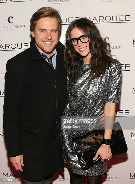 Andrew Pruett and actress Abigail Spencer attend the grand opening of Marquee Nightclub at Marquee Nightclub In The Cosmopolitan on December 30 2010...