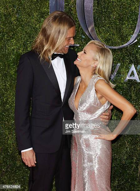 Andrew Pruett and host Kristin Chenoweth attends American Theatre Wing's 69th Annual Tony Awards at Radio City Music Hall on June 7 2015 in New York...